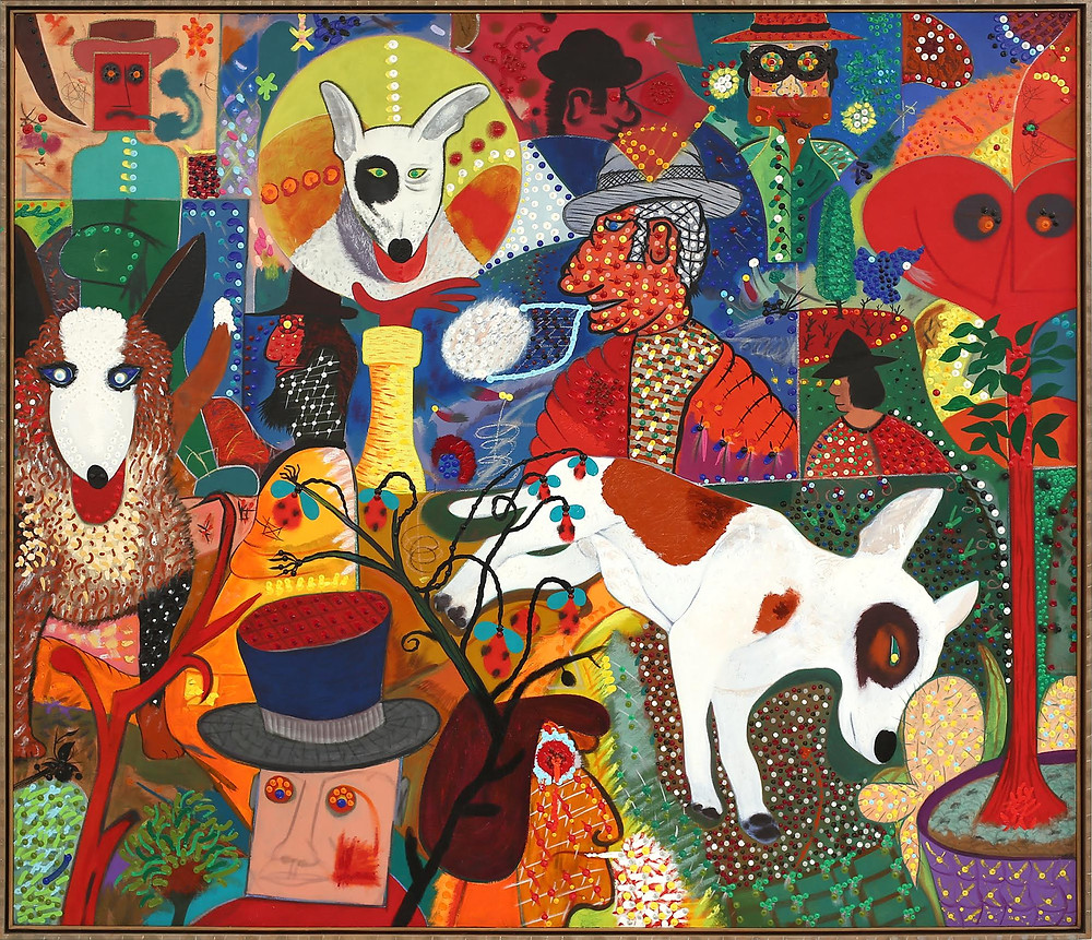 Roy De Forest 'Let Sleeping Dogs Lie', 1979; Polymer on canvas (74 x 86 inches) (Courtesy of Brian Gross Fine Art)