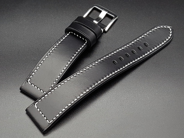 Walpier Buttero(Black) Leather Watch Strap