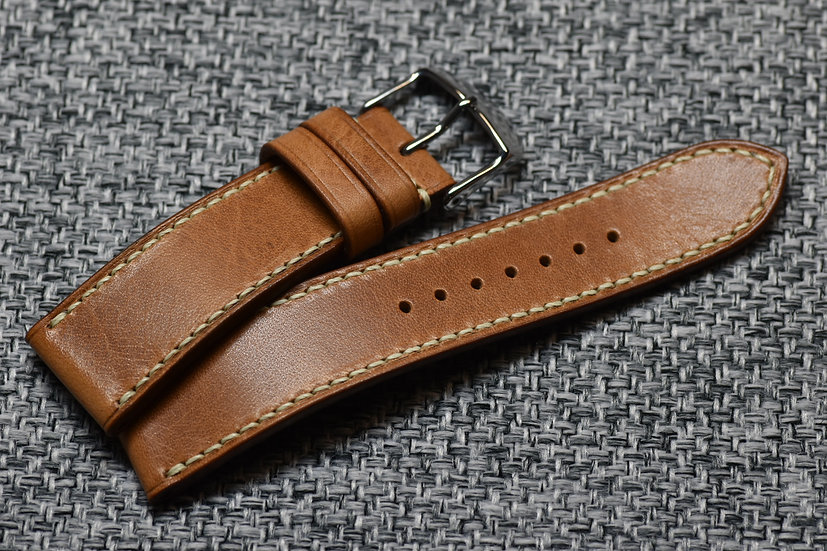 BC Minerva Wax(Natural/Bone) Leather Watch Strap