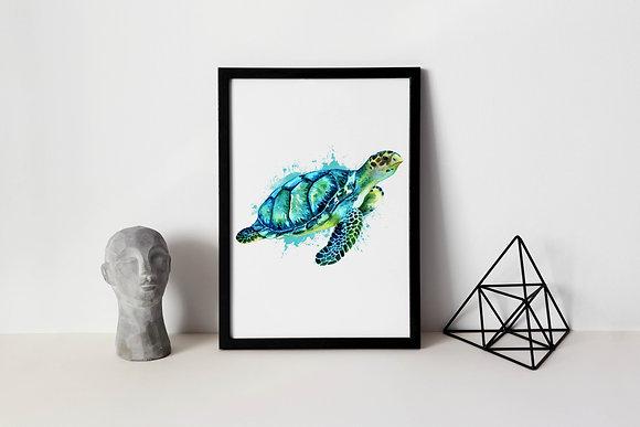 Jade Turtle Water Colour Print