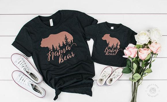 Mama Bear & Baby Bear Adult T-Shirt & Baby Vest Set