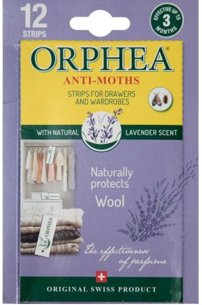 12 Lavender Orphea Anti Moth Strips for Drawers/Wardrobes