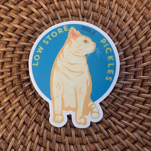 Pickles The Cat Blue Waterproof Sticker