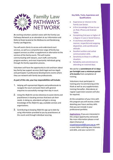VFLPN Volunteer Opportunities 2020!