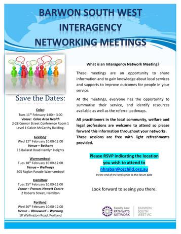 Barwon South West Interagency Networking Meetings 2020