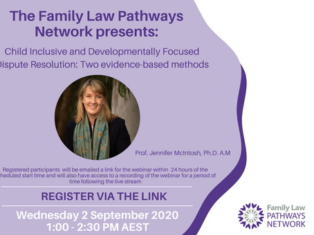 Prof. Jennifer McIntosh: Child Inclusive FDR Webinar
