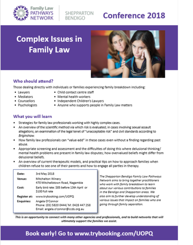 Shepparton-Bendigo 2018 Conference: Complex Issues in Family Law