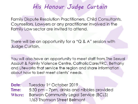 Meet & Greet with His Honour Judge Curtain