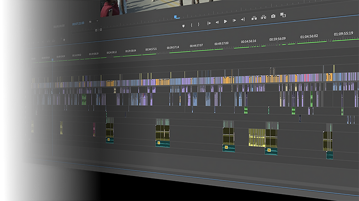 An Adobe Premiere timeline containing hundreds of audio and video clips on several tracks.