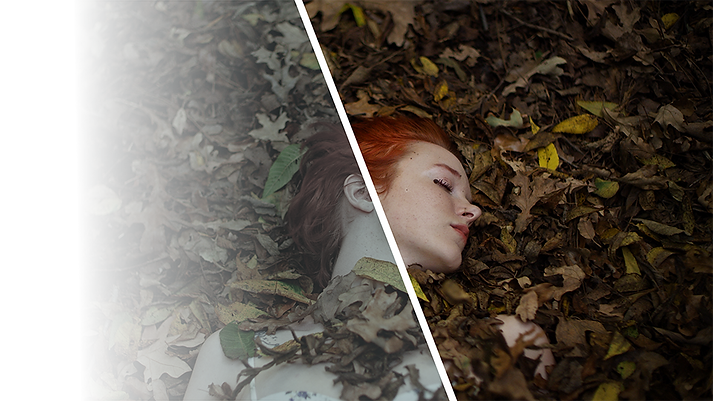 A color-graded befor and after image of a red-haired woman lying in a pile of leaves.