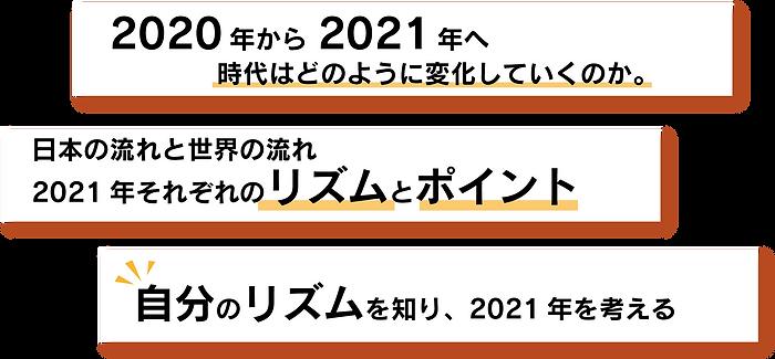 講演内容2020年から2021年へ時代はどのように変化していくか。日本の流れと世界の流れ2021年それぞれのリズムとポイント。自分のリズムを知り、2021年を考える。