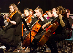 Members of Viola and Cello sections - Younger members performing alongside the students of Maynooth