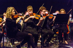 Violin section performing