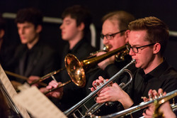 Brass and percussion sections - Younger members performing alongside the students of Maynooth Univer