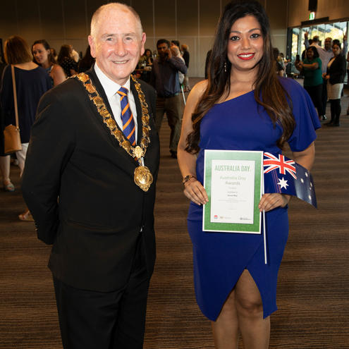 Saroni Roy with the Right Worshipful Lord Mayor Councillor Bob Dwyer.jpg