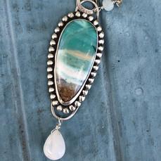 Opalized wood pendant