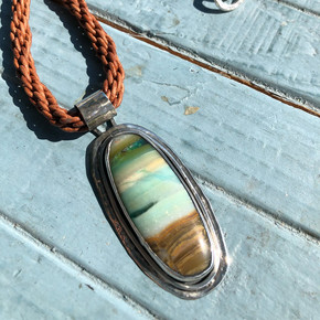Opalized wood pendant