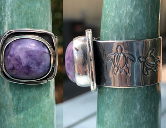 Charoite ring with stamped turtle band