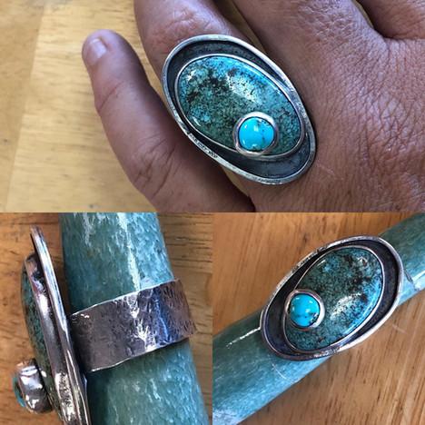 Stone on stone turquoise ring