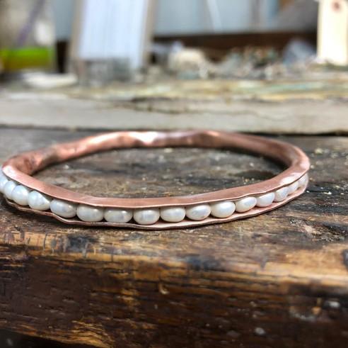 Anticlastic freshwater pearl bangle