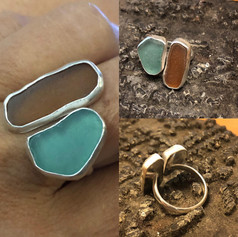 Hawaiian sea glass split ring