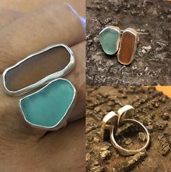 Hawaiian sea glass split ring