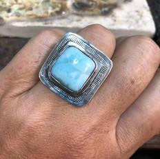 Square larimar ring