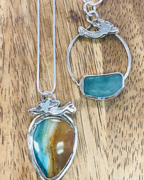 Opalized wood and sea glass with mermaid