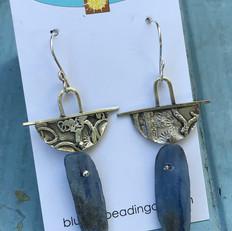 Kyanite and fuse silver earrings