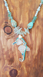 Seahorse sea glass necklace