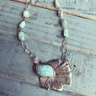 Larimar fish necklace