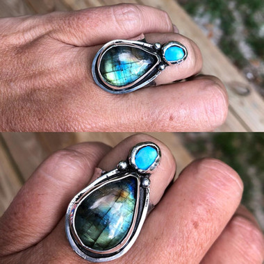 Labradorite and turquoise ring