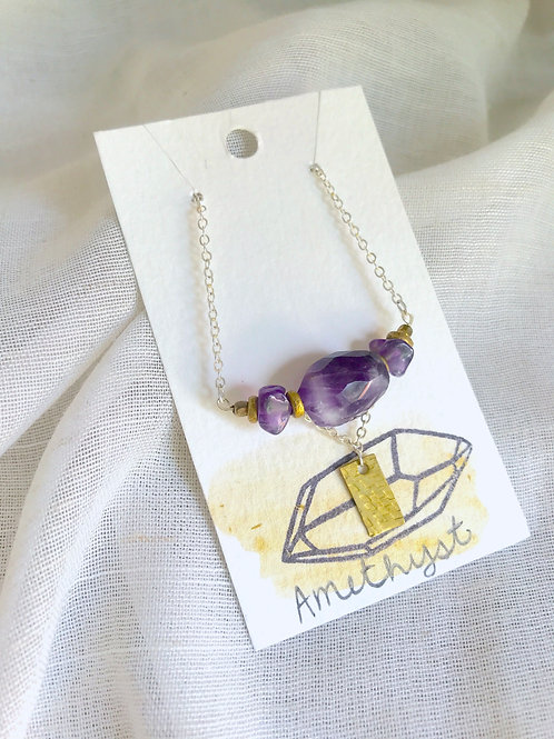 Amethyst and Brass necklace