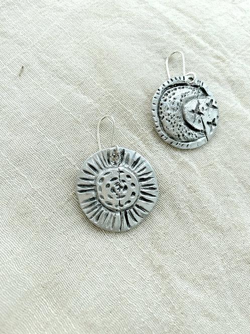 Celestial Sun + Moon mismatched earrings