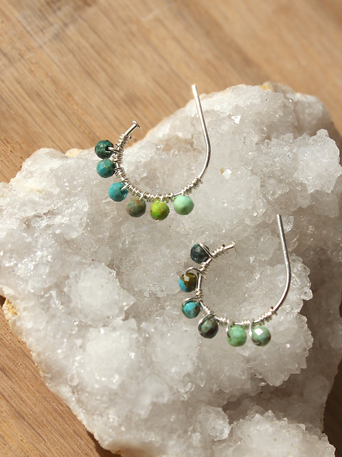 Turquoise + Sterling Tiny Hoops
