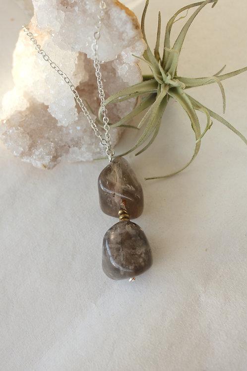 Polished Smoky Quartz Cairn necklace