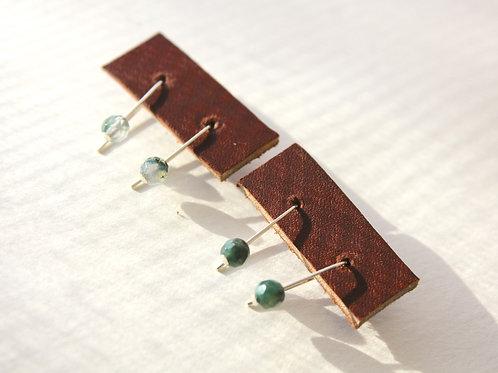 Moss Agate threader earrings (Gold + Silver)