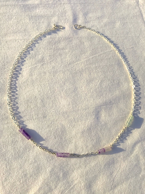 Rainbow Fluorite Gradient Necklace
