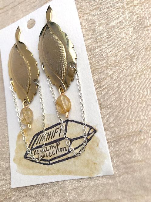 /SHIFT/ Rutilated Quartz leaf earrings