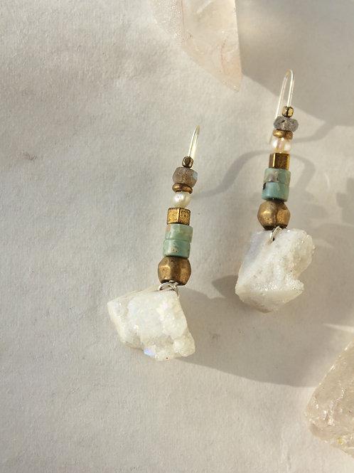 Druzy Jasper + Pearl earrings