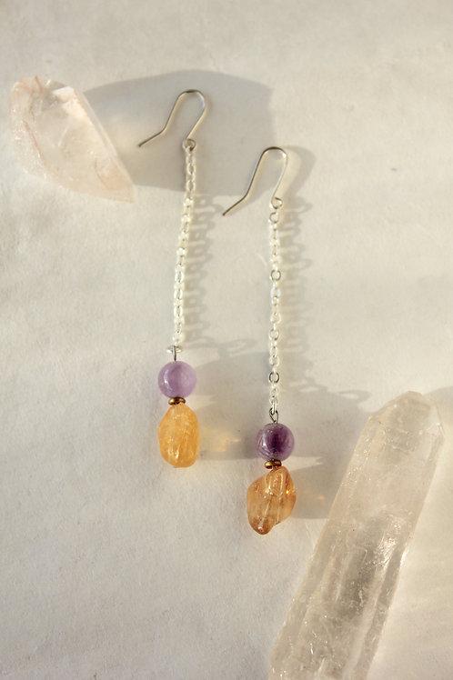 Citrine + Amethyst drop earrings