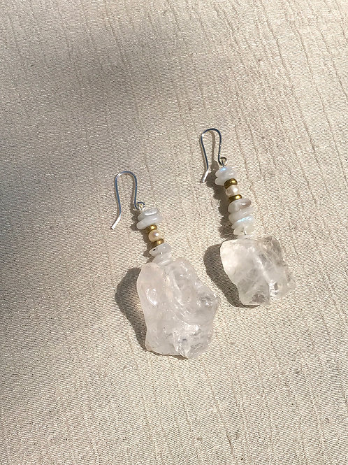 Icey Quartz + Moonstone earrings