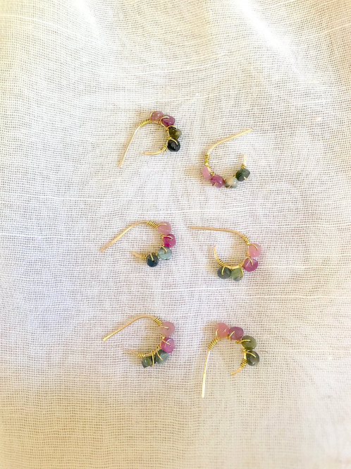 Tiny Tourmaline Hoops