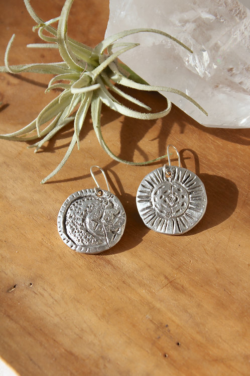 Celestial Sun + Moon mismatched earrings