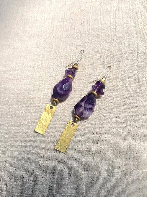 Amethyst and Brass tab earrings