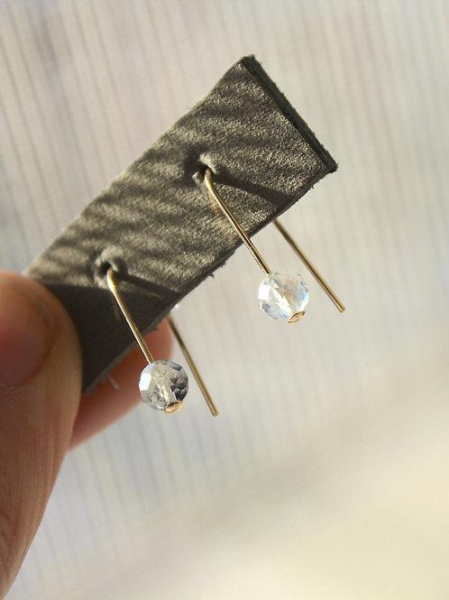 Moonstone threader earrings (Gold + Silver)
