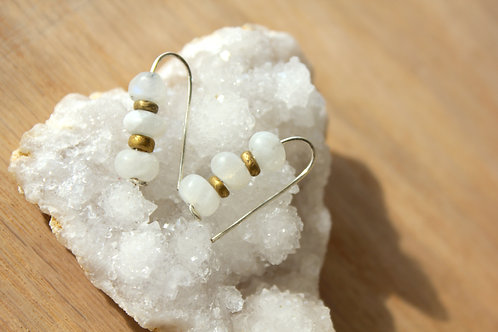 Moonstone + Brass threader earrings