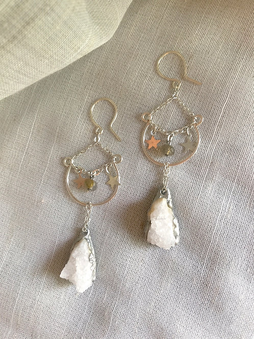 Druzy Quartz and Stars Earrings