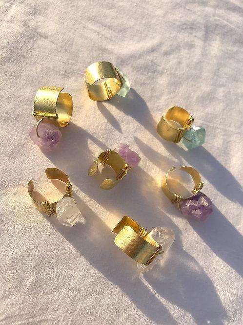 Clear Quartz + Brass Ring