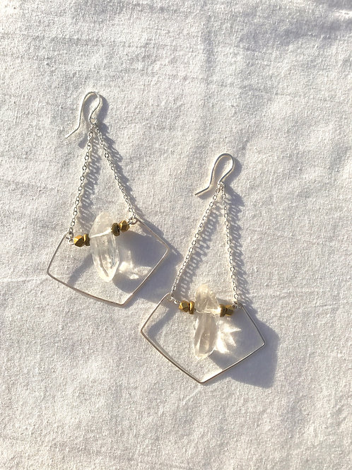Geometric Quartz Earrings
